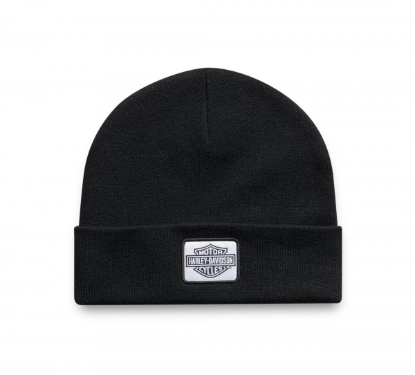 PATCH BEANIE KNIT - BLACK