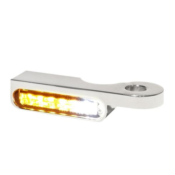 LED BLINKER VORNE ALUMINUM-CHROM MIT STANDLICHT