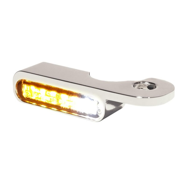 LED BLINKER VORNE ALUMINUM-NATURAL|CHROME MIT STANDLICHT