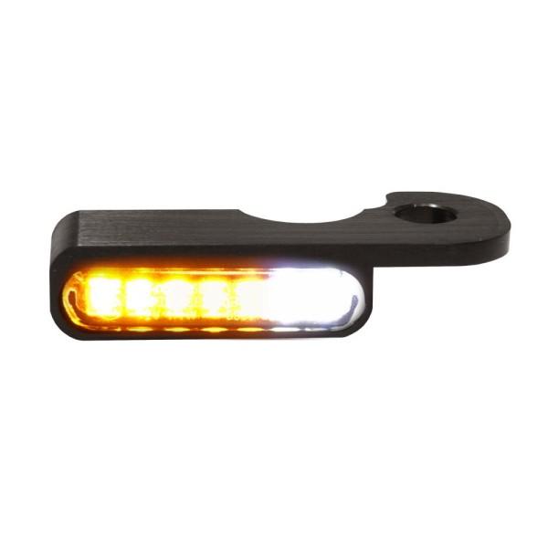 LED BLINKER VORNE ALUMINUM-BLACK MIT STANDLICHT